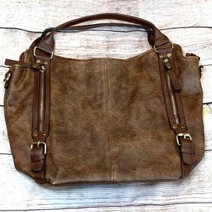 Faux-leather brown tote handbag with gold hardware